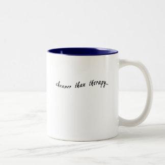 Cheaper Than Therapy Tshirts, Mugs, Buttons Two-Tone Mug