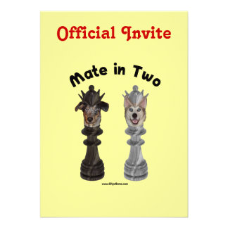 Check Mate in Two Dogs Personalized Invites