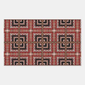Check Ornate Pattern Rectangular Sticker