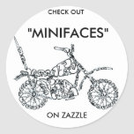 CHECK OUT MOTORCYCLE ROUND STICKER