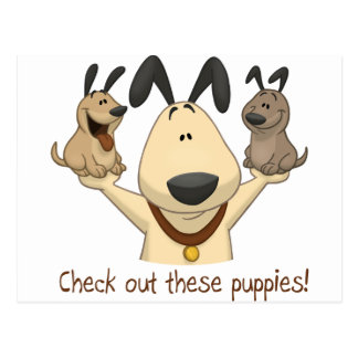 Check Out These Puppies Postcard