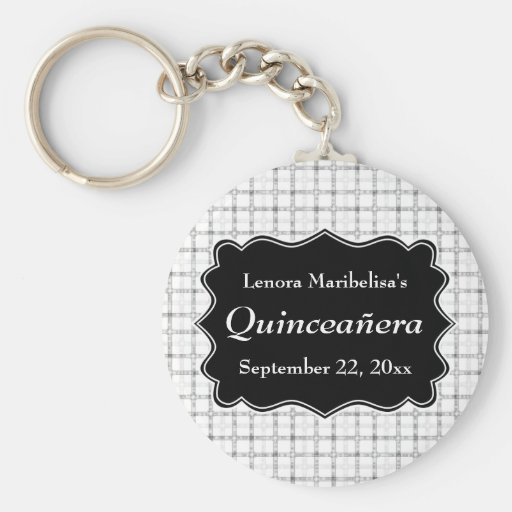 Check Pattern Black and White Quinceanera Key Chains