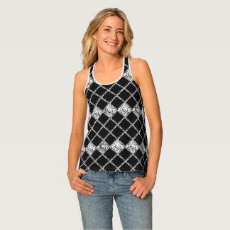 check pattern black  white tank top