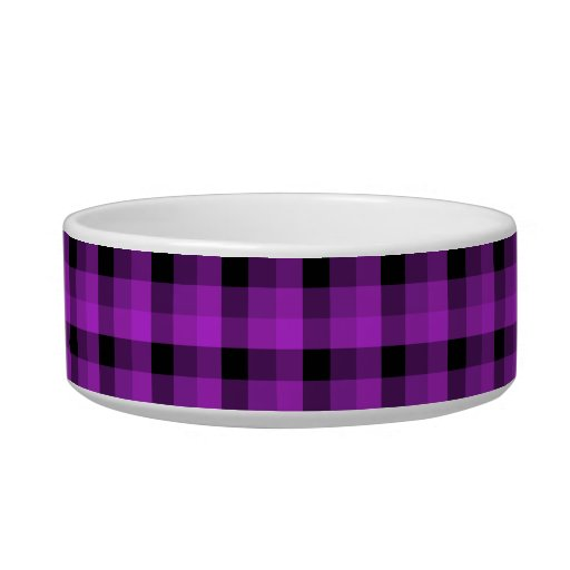 Check Pattern. Purple and Black. Cat Water Bowl