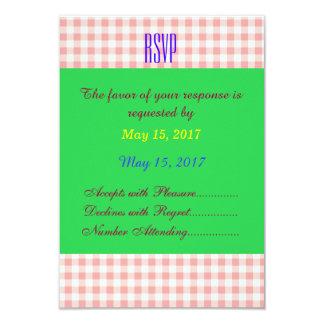 Check Pattern Wedding RSVP Card 9 Cm X 13 Cm Invitation Card