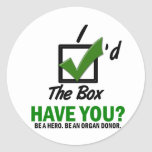 Check The Box Be An Organ Donor 2 Round Stickers
