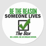 Check The Box Be An Organ Donor 4 Round Sticker