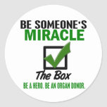 Check The Box Be An Organ Donor 6 Round Stickers