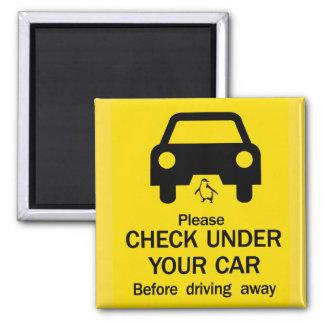 Check Under Car Sign, Australia Square Magnet