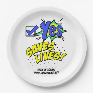 Check Yes to Save Lives, Donor Awareness 9 Inch Paper Plate