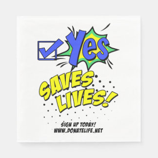 Check Yes to Save Lives, Donor Awareness Paper Serviettes