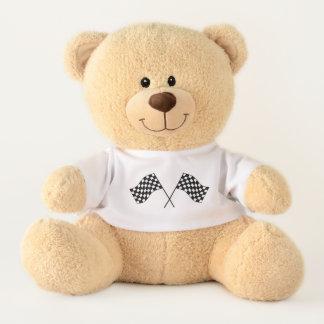 Checked Car Race Flags Racing Fan Teddy Bear