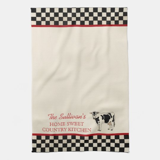 Checked Country Cow Personalised Kitchen Towels