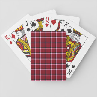 Checked Pattern Overlapping Lines Maroon Playing Cards