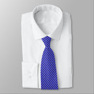Checked Pattern Squares Blue Tie