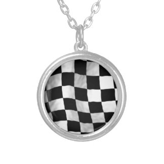 Checker Flag Silver Plated Necklace