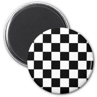 Checker Pattern 6 Cm Round Magnet