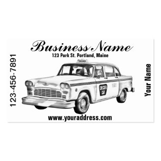 Checker Taxi Cab Illustration Business Cards
