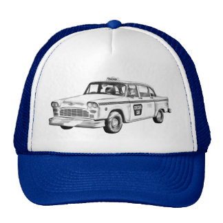 Checker Taxi Cab Illustration Cap