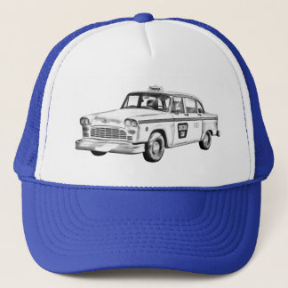 Checker Taxi Cab Illustration Trucker Hat