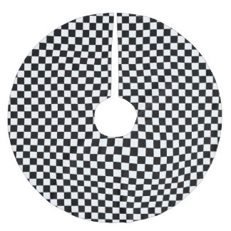 CHECKERBOARD! (a black & white design) ~ Brushed Polyester Tree Skirt