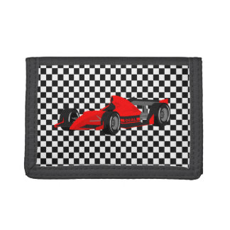 Checkerboard and Race Car Tri Fold Wallet