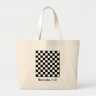 checkerboard, Barcode./<3 Canvas Bag