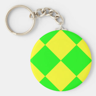 CHECKERBOARD GREEN! ~ BASIC ROUND BUTTON KEY RING