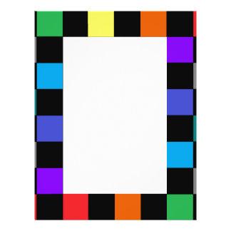 Checkerboard Grey Rainbow Turquoise Blue-Green Flyer Design
