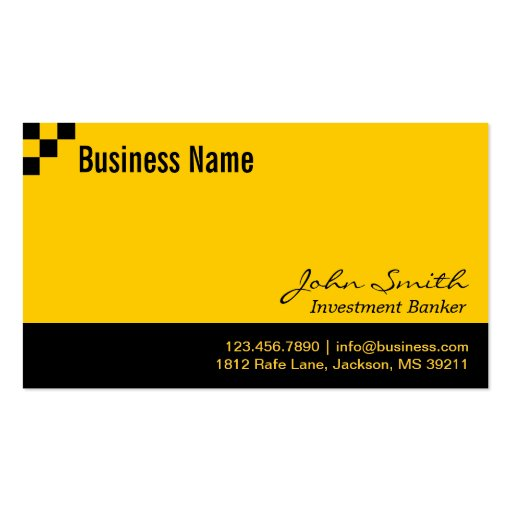 Checkerboard Investment Banker Business Card