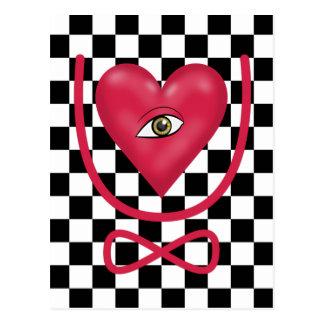 Checkerboard love you forever Eye heart U eternity Postcard