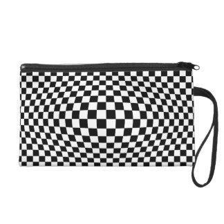 Checkerboard optical illusion wristlet clutches