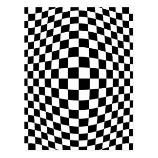 Checkerboard optical illusion postcard