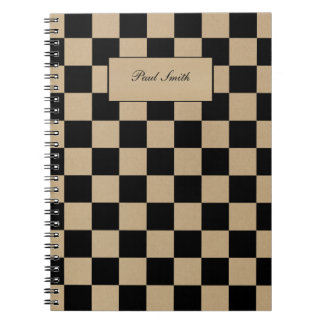 Checkerboard pattern, grid pattern, black squares spiral notebook