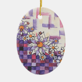 Checkerboard Purple Daisy Spray Christmas Ornament