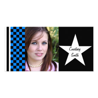 Checkerboard Star Personalized Photo Card