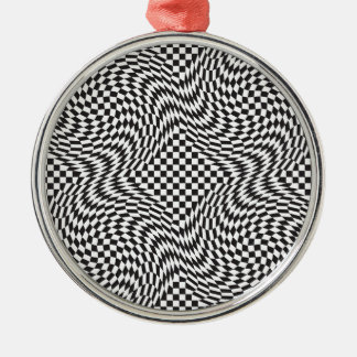 Checkerboard Warp Christmas Ornament
