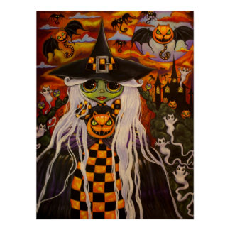 Checkerboard Witch Poster