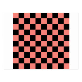 Checkered - Black and Coral Pink Postcard