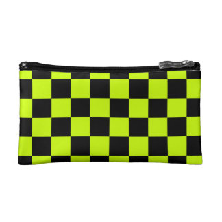 Checkered - Black and Fluorescent Yellow Cosmetic Bag
