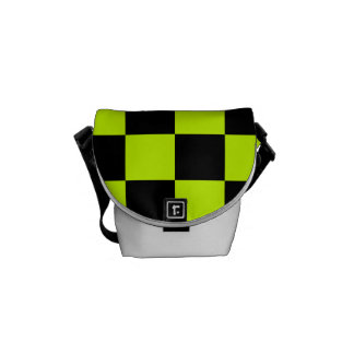 Checkered - Black and Fluorescent Yellow Courier Bag
