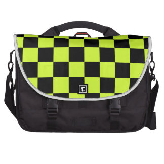 Checkered - Black and Fluorescent Yellow Laptop Bag