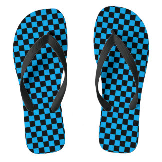 Checkered Black and Turquoise Flip Flops