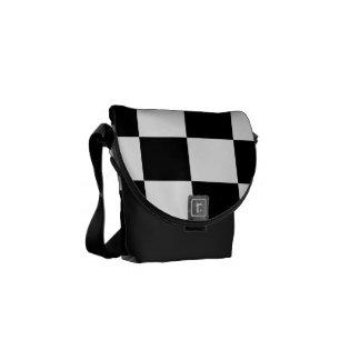 Checkered Black and White Messenger Bag