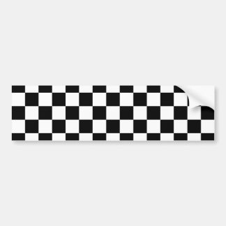 Checkered Black and White Pattern Car Bumper Sticker