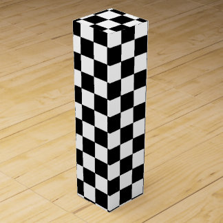 Checkered Black and White Wine Box