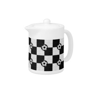 Checkered black and white with soccer balls