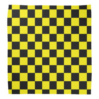 Checkered Black and Yellow Bandana