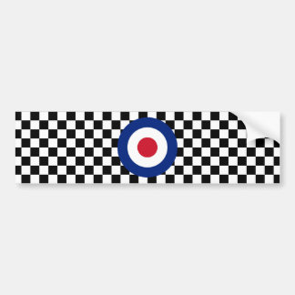 Checkered Black Racing Target Mod Bumper Sticker