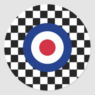 Checkered Black Racing Target Mod Classic Round Sticker